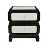 Benzara 16723 Wood Cabinet With Bevelled Mirror, Black and White