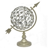 "Benzara 17552 18"" Metal Jewelled Globe, Champagne"