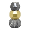 "Benzara 9.5"" Dark Grey and Golden Ceramic Vase, Dark Grey and Gold"