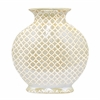 Benzara Ceramic Vase - Gold/White