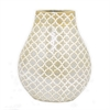 "Benzara 9.5"" Golden and White Ceramic Vase, Gold and White"