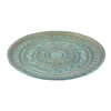 "Benzara 12.5"" Turquoise Glass Platter, Turquoise"