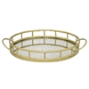 "Benzara 19.5"" Golden Metal Tray With Mirror, Gold"