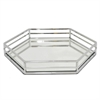 "Benzara 14"" Silver Metal Tray With Mirror, Silver"