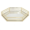"Benzara 14"" Golden Metal Tray With Mirror, Gold"