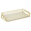 "Benzara 17.5"" Golden Metal Tray With Mirror, Gold"