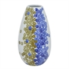 "Benzara 9.75"" White and Blue and Golden Ceramic Vase With Dots, White and Blue"
