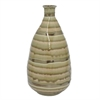 "Benzara 13.75"" Golden Stripe Ceramic Vase, Gold Stripe"