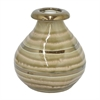 "Benzara 7.25"" Golden Stripe Ceramic Vase, Gold Stripe"