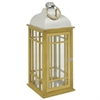 "Benzara 32297 26"" Wood and Metal Lantern, Brown and Silver"