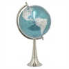 "Benzara 32860 12"" Metal Nickel Globe, Teal"