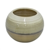 "Benzara 34782 7.5"" Golden and White Ceramic Planter, Gold and White"