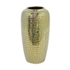 "Benzara 12.25"" Golden Ceramic Vase, Gold"