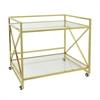 """Benzara 31.5"""" Metal Bar Cart, Shiny Brass"""