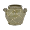 "Benzara 6.5"" Ceramic Flower Pot, Olive"