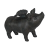 Benzara Contemporary Styled Black Resin Flying Pig Figurine