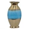 """Benzara 44090 15"""" Ceramic Vase, Gold and Blue"""