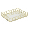 "Benzara 11.5"" Golden Metal Tray With Mirror, Gold"