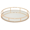 "Benzara 15"" Rose Golden Metal Tray With Mirror, Rose Gold"