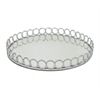 "Benzara 16"" Silver Metal Tray With Mirror, Silver"