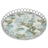 "Benzara 16"" Silver Metal Tray With Designs, Silver"