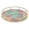 "Benzara 15"" Rose Golden Metal Tray With Flower, Rose Gold"