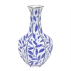 "Benzara 11.75"" Blue and White Ceramic Vase, Blue and White"