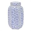 "Benzara 10.75"" Blue and White Ceramic Jar, Blue and White"