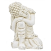 "Benzara 19.75"" Off White Rose Resting Buddha, Off White"