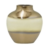 "Benzara 9"" Golden and Ivory Ceramic Vase, Gold and Ivory"