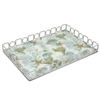 "Benzara 18"" Silver Metal Tray With Designs, Silver"