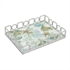 "Benzara 11.5"" Silver Metal Tray With Designs, Silver"