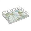 """Benzara 11.5"""" Silver Metal Tray With Designs"""