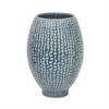 """Benzara 8.25"""" Blue Ceramic Vase, Blue"""