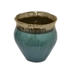 "Benzara 7"" Green and Copper Ceramic Vase, Green and Copper"