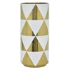 "Benzara 16"" Golden & White Ceramic Vase, Gold & White"