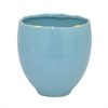 "Benzara 62985 5.2"" Blue and Golden Ceramic Planter, Blue and Gold"
