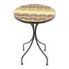 """Benzara 76219 14"""" Mosaic Top Metal Side Table, Brown"""