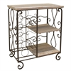 Attractive 2 Tier Shelf With Wine Rack, Brown & Natural Wood
