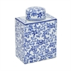 "Benzara 7"" White and Blue Ceramic Jar, White and Blue"