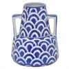 "Benzara 8.5"" White and Blue Ceramic Vase, White and Blue"