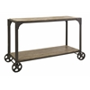 Trendy Utilitarian Metal and Wood Console on Metal Wheels, Natural