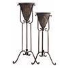Stylishly Acanthus Plant Stands, Antique Copper, Set Of 2