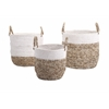 Timeless Set of 3 Shoelace and Raffia Woven Baskets