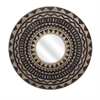 Aztec Embroidered Wall Mirror, Beige and Black