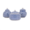 Jessica Lidded Boxes, Blue and White, Set Of 3