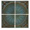 Classic Blue Quarter Medallion, Earthly Blue, Brown, Set Of 4 Wall Panels