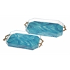 Classic Serene Acrylic Trays, Golden & Blue, Set Of 2