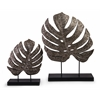 Welcoming, Silver, Set Of 2 Silver Antiqued Leaves