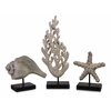 Handcrafted, Silver, Set Of 3 Seaside Series Statuary